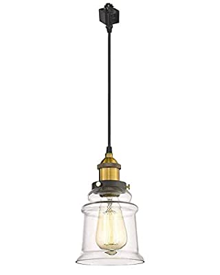 Kiven H-Type Track Lighting Industrial Kitchen Pendant Light - Antique Brass Hanging Fixture - One Light