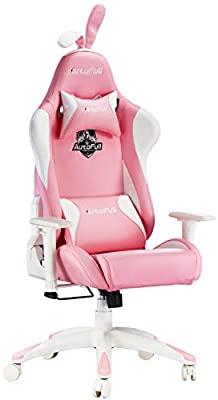 AutoFull Pink Kawaii Computer Gaming Chair Cute Sakura Base Customized Armrest Fashion Ergonomic PU Leather High Back Racing Office Desk Chairs with Rabbit Ears