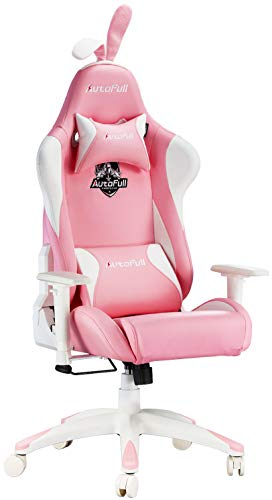 AutoFull Pink Gaming Chair PU Leather High Back Ergonomic...