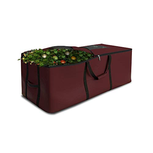 Christmas Tree Storage Bag Waterproof with Padded Carrying Handles & Dual zipper Superior Protection - Extra Large Container Duffle Bag fits up to 9 feet tall Xmas Artificial Tree (Burgundy)