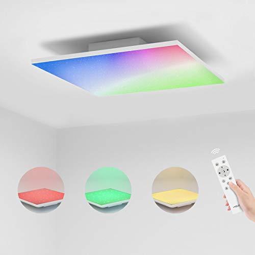 Led Panel Deckenleuchte Dimmbar RGB Farbwechsel mit Fernbedienung, 32W Sternenhimmel Deckenlampe Warmweiss zu kaltweiss 3000K-6500K, 45x45cm Quadratisch Weiß Modern