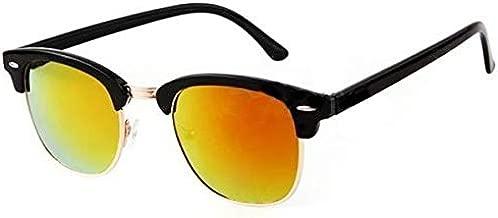 نظارة شمس كلوب ماستر ريترو نصف إطار ذهبي عاكسة عاكسة بإطار عاكس
