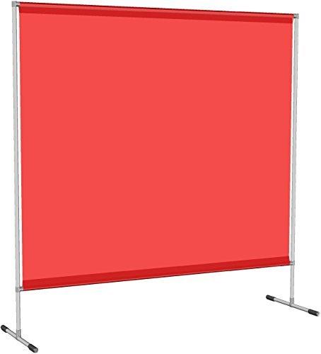 Mobile Hochwertige Schweißerschutz Stellwand, Planenbespannung 0,4 mm, rot, B200 x H200cmgroß
