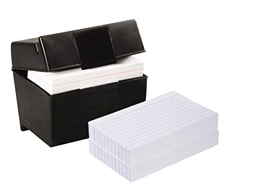 """1InTheOffice Index Card Box 3"""" x 5"""", Index Card Holder 3x5 400 Capacity & 3x5 Ruled Index Cards,White 200/Pack"""
