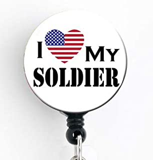 I Love My Soldier - Retractable Badge Reel with Swivel Clip and Extra-Long 34 inch Cord - Badge Holder/Military/Army/Marine/Nurse Badge/Mom Badge/Teacher