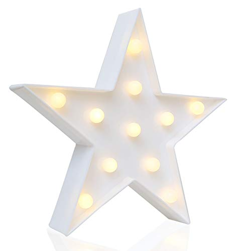 Designer Star Marquee Sign Lights, Novelty Place Warm White LED Lamp - Living Room, Bedroom Table & Wall Christmas Decoration for Kids & Adults - Batteridriven 10 tum hög