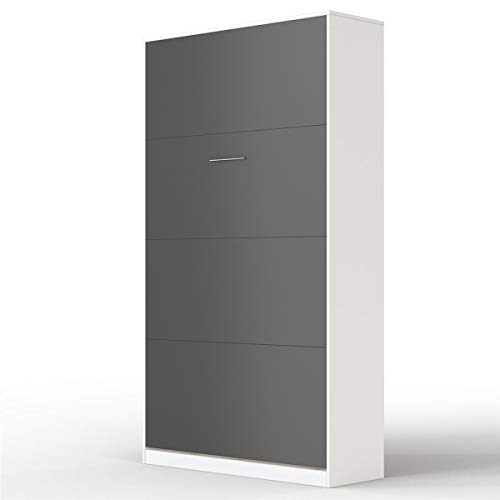 SMARTBett Basic Cama abatible Cama Plegable Cama de Pared (Blanco/Antracita, 90 x 200 cm Vertical)
