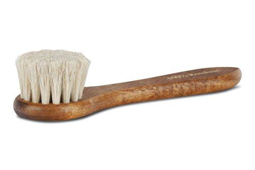 Langer & Messmer cepillo crema hecho 100% de crin de caballo para aplicar cera y crema de zapatos: el cepillo para el cuidado profesional del calzado (blanco)