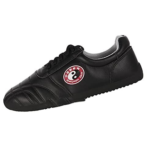 Tradiciones Chinas Unisex Zapatos de Tai Chi , Zapatos de Artes Marciales Kung Fu Wing Chun para Hombres y Mujeres, Zapatillas Negro de Entrenamiento Deporte para Boxeo,(Size:37EU/6US,Color:negro)