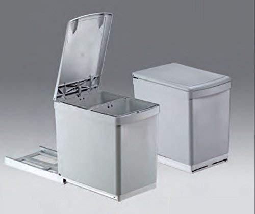 Wesco Basic-2 Abfalleimer 2x7,5L Vollauszug 30-er Küchenschrank Mülleimer *40637