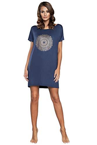 Camisón de noche para mujer, de viscosa, de manga corta, cuello redondo, informal, camisón de dormir, pijama sexy de mandala azul XL