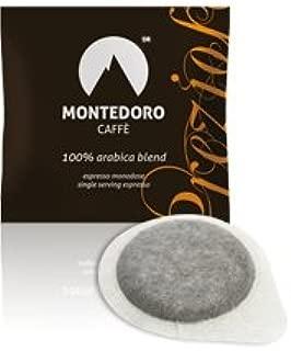 Montedoro Caffe` Prezioso 100% Pure Arabica - 150 Espresso E.S.E Coffee Pods + Office Kit 150 Cups,150 Stirs and 150 Sugar.