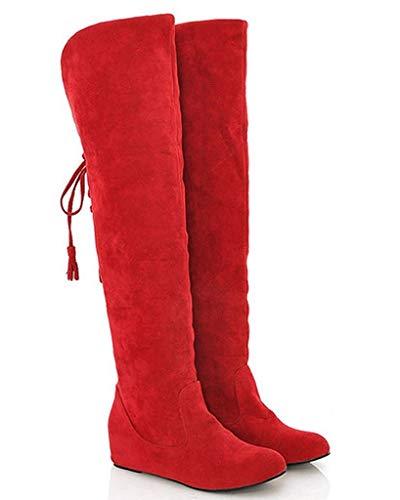 Minetom Damen Winter Warm Schnee Hohe Stiefel Pelzstiefel Flache Schuhe Overknee Stiefel (EU 39, Rot)