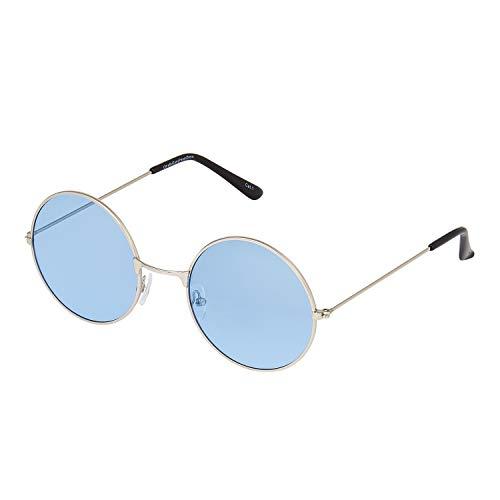 UltraByEasyPeasyStore Ultra Silberne mit Blau Klassische John Lennon Sonnenbrille Groß Stil Runde Sonnenbrille Damen Herren mit UV400 Schutz Männer Frauen Unisex Retro Sonnenbrille