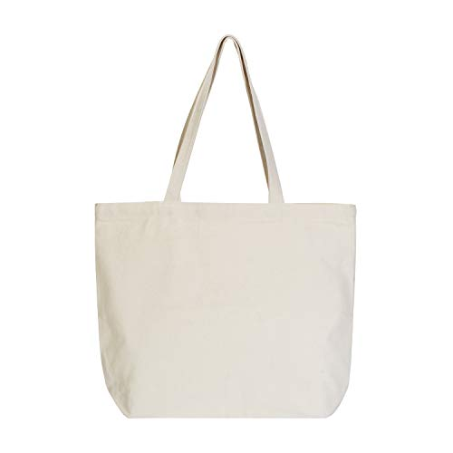 VPAL Large Canvas Tote Bag with Zipper, 19'x15' 12oz Natural Cotton Heavy DIY Tote for Crafting, Ironing and Embroidering (1 Pack)