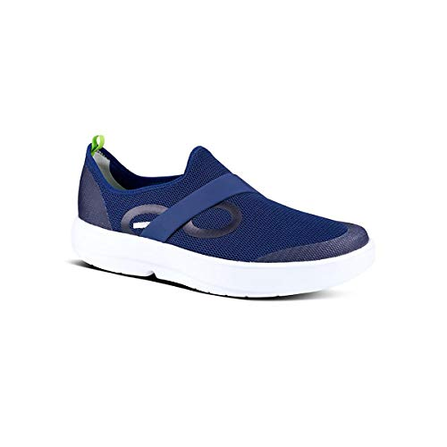 OOFOS Men's OOmg Low Slip-On Recovery Shoe - Color: Navy/White - Size: 10 - Width: Regular