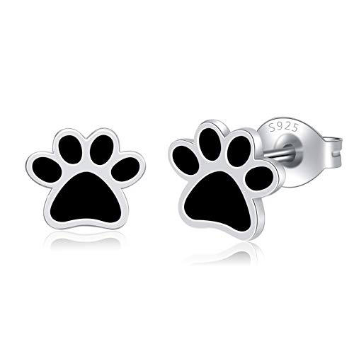 Step Forward Gift 925 Sterling Silver Paw Earrings Cute Tiny Jewelry Black Enamel Puppy Dog and Cat Paw Print Stud Earrings for Women and Girls Pet Lovers