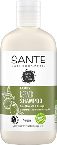 SANTE Naturkosmetik Repair Shampoo Bio-Olivenöl & Ginkgo, Repariert geschädigtes & strapaziertes Haar, Natürliche Haarpflege für gesundes Haar, Vegan, 250ml
