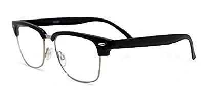 Semi Rimless Metal Clear Bifocal Reading Glasses - Men and Women Classic Wayfarer Style