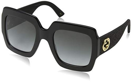 Model: GG0102S Style: Square Frame/Temple Color: Black/Gold/Glitter - 001 Lens Color: Gray Gradient Size: Lens-54 Bridge-25 Temple-145mm Gender: Women's Made In: Italy