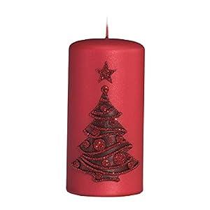 Weihnachtskerze Adventskerze Stumpen Kerze mit Tannenbaum in Rot Glänzend, Größe 12×6 cm Steppenkerzen Adventskerzen…