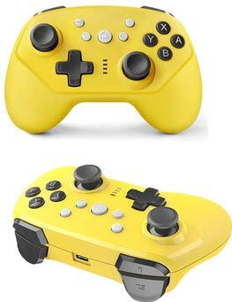 TNE - Switch Lite Wireless Pro Controller | for Classic Nintendo Switch 2017 & Switch Lite 2019 Portable Gaming System | Auto Turbo Function | Also Wireless on Android or Wired on PC & PS3 (Yellow)