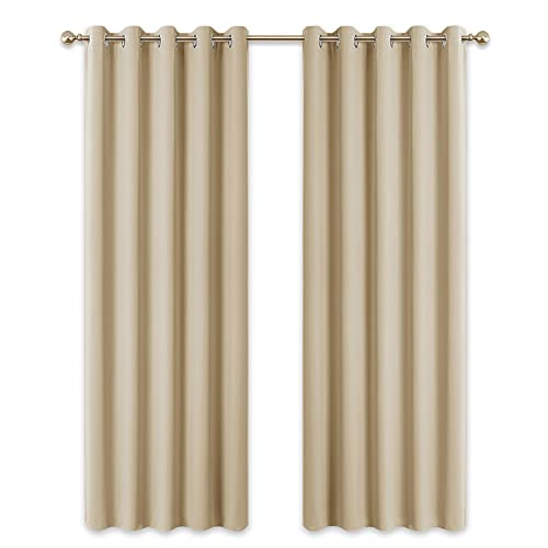 PONY DANCE Living Room Curtains - Soft Curtain Drapes Light Blocked for Wide Windows Eyelet Panels for Sliding Glass Door, 2 PCs, 66 by 90 inch (Width - Depth), Biscotti Beige