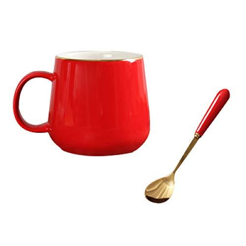 HRDZ Taza de café Pintada en Oro Rojo con Plato y Cuchara Juego de Taza de Agua de cerámica para el hogar Caja de Regalo Regalo de Boda