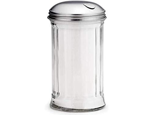TableCraft Zucker-Ausgießer aus Glas mit seitlicher Klappe oben, 340 ml | Zuckerspender