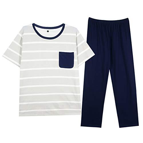 GOSO Pijama para Hombre Conjunto de algodón Ropa de Dormir Manga Corta Top con Pantalones Largos/Corta Suave Cómodo Ropa de Dormir