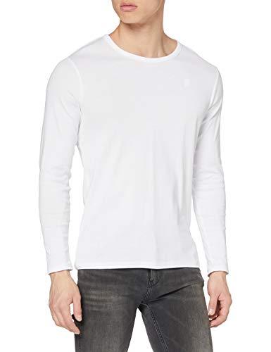 G-STAR RAW Base R T L/S 1-Pack Camisa Manga Larga, Blanco (White 110), Large para Hombre
