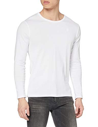 G-STAR RAW Base R T L/S 1-Pack Camisa Manga Larga, Blanco (White 110), Large para Hombre