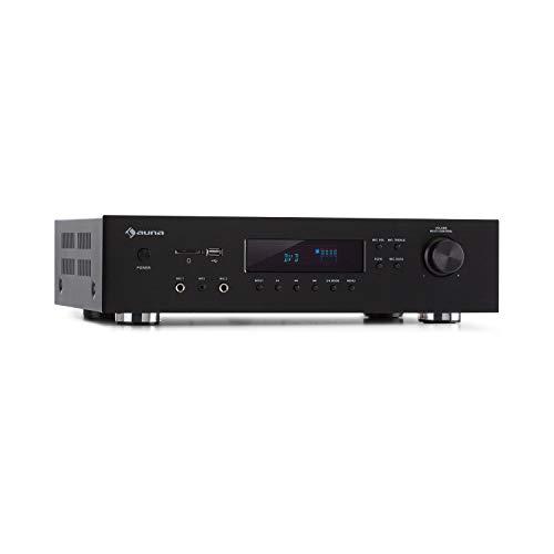 AUNA AMP-H260 5.1 - Amplificatore Receiver Equalizzatore, 2x100 Watt + 3x20 Watt RMS, Bluetooth, Porta USB, Slot SD, Digital-In Ottico & Coassiale, 2 x HDMI-In/1 x HDMI-Out, Nero
