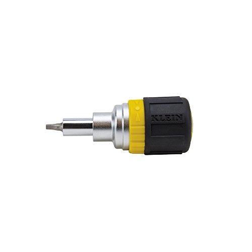 Klein Tools 32594 Multi-Bit Screwdriver / Nut Driver, 6-in-1 Stubby Tool with Phillips, Slotted and Square Bits and 2 Nut Driver Sizes