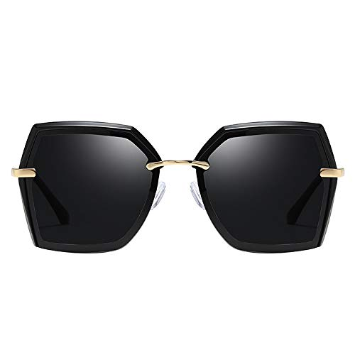 Sebasty Gafas de sol polarizadas para mujer, marco poligonal, multicolor, protección UV400, lente gris (color: negro)