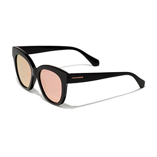HAWKERS Gafas de Sol Audrey Estilo Butterfly, para Mujer, con Montura Negra Brillante y Rosa Dorada con Efecto Espejo, Protección UV400, Black · Rose Gold, One Size
