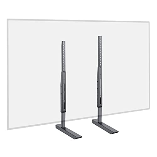 ECHOGEAR Universal Large TV Stand - Height Adjustable Base for TVs Up to 77' - Wobble-Free Replacement Stand Works w/ Any TV Including Vizio, TCL, Samsung & More - Flat Design Compatible w/ Soundbars