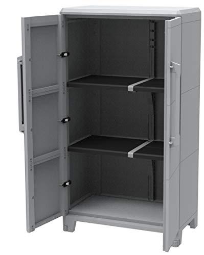 Kreher Gartenschrank aus Kunststoff. Mit modularen Böden, abschließbaren Türen und Metallscharnieren. IP43 geprüft in 3 verschiedenen Größen. (L)