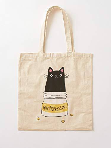 Animal Kitty Kitten Psychotherapist Cat Cats Antidepressant Fun Tote Cotton Very Bag | Bolsas de supermercado de lona Bolsas de mano con asas Bolsas de algodón duraderas