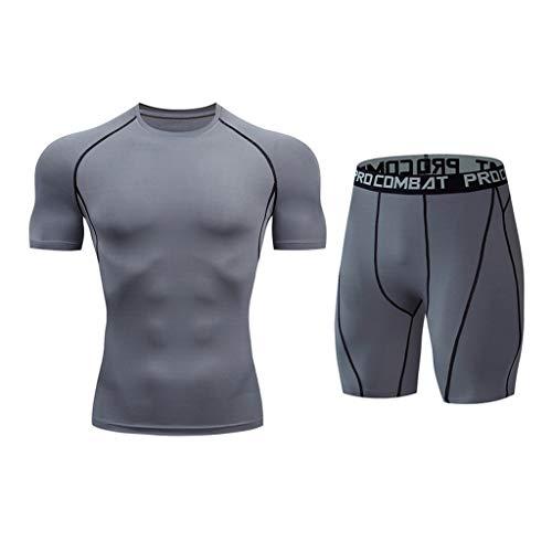 Zolimx Set Maglietta Compressione Manica Corta + Pantaloncini Corta per Uomo Elastica Leggings Sport Asciugatura Veloce Strato di Base Esercizio Fitness Palestra Corsa Allenamento