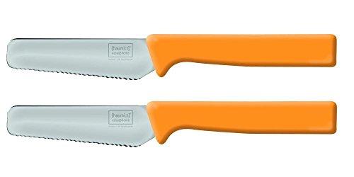 *homiez 2 Stück Frühstücksmesser Knife orange, Brötchenmesser, Tafelmesser, Brotzeitmesser, Wellenschliff, Soft-Griff*