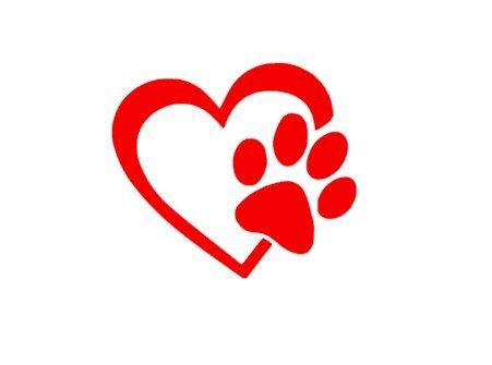 Herz mit Hundepfote Welpenliebe 4 Zoll (viele Farben) Venyl Klebebild Aufkleber für Autos, Lkws, Fenster, Wände, Laptops (viele Farben)