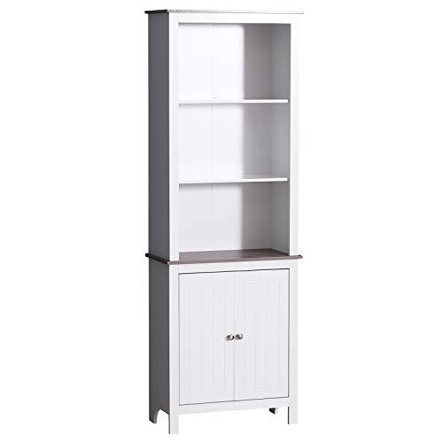 "HOMCOM 69"" Wood Free Standing Bathroom Linen Tower Storage Cabinet - White"