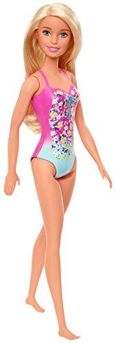 Barbie GHW37 - Beach Puppe mit Badeanzug im Blumenmuster, Spielzeug ab 3 Jahren