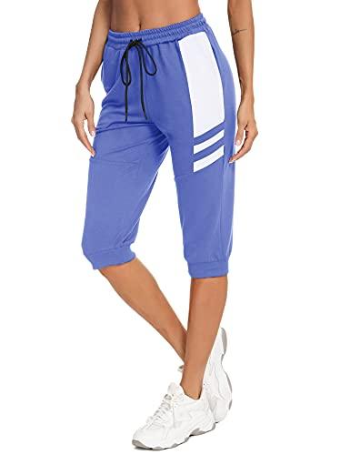 Sykooria 3/4 Pantalon Chándal Mujer Verano Algodón Corto Pantalon Deportivo para Mujer Pantalones Deporte Mujer para Yoga Fitness Jogger Entrenamiento con Bolsillos, Azul, M