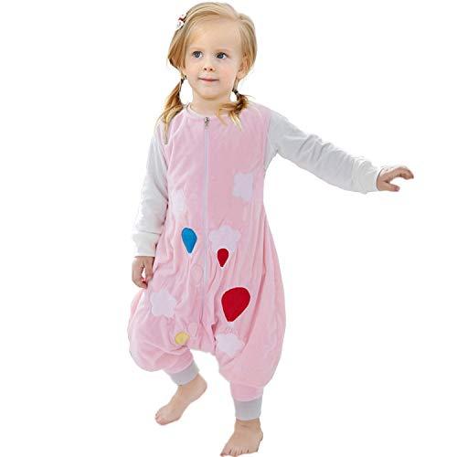 ZEEUPAI - Baby Flanell Schlafsack mit Beinen Füße Baby Kind Schlafanzug (Rosa - Globus, L (5-6 Jahre))