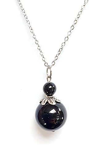 Pendentif, obsidienne, protection, oeil céleste
