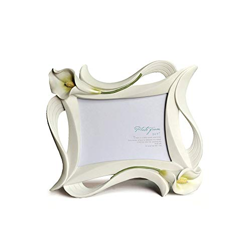 Icbly Creative Calla Lily Flower Shaped Decor Resin Wedding Photo Frame White Rectangle European Rustic Picture Display Frame Table Top Photograph Frame for Family Friends Photo