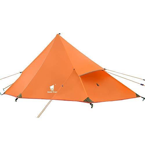 Geertop 20D Ultraligero 1 Persona 3 Temporada Mochila Tienda para Camping Senderismo Escalada (Poste no Incluido) – Naranja/Flysheet + Tienda Interior