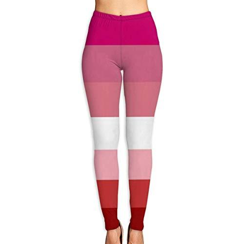 GXLLLW Frauen Yoga Hosen Lesbian Pride Flag oder Pink Flag Workout Stretchy Light Sport Leggings